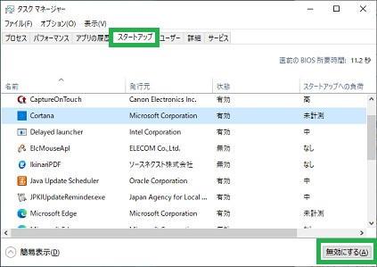 Windows10のタスクマネージャーの「スタートアップ」