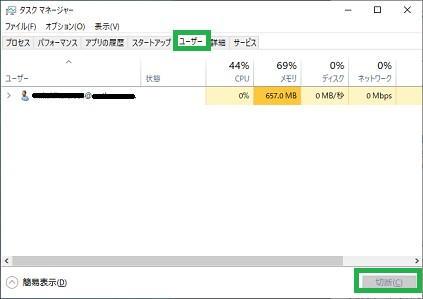 Windows10のタスクマネージャーの「ユーザー」